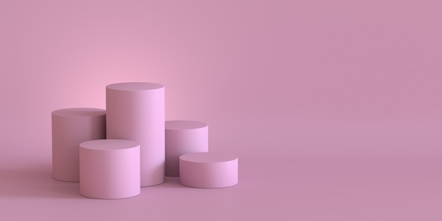 Empty pastel pink podium on blank wall background. 3d rendering.