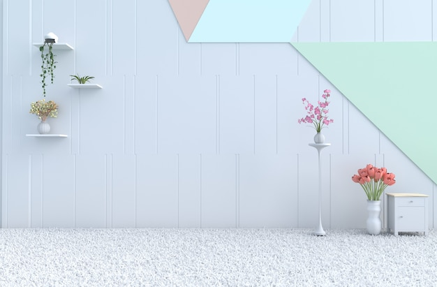 Empty pastel room decor pastel wall, orchid, tulip,carpet. christmas, new year. 3d render