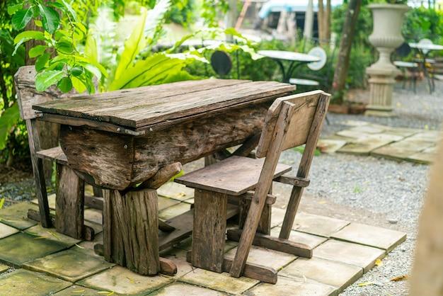Empty patio table set decoration in garden