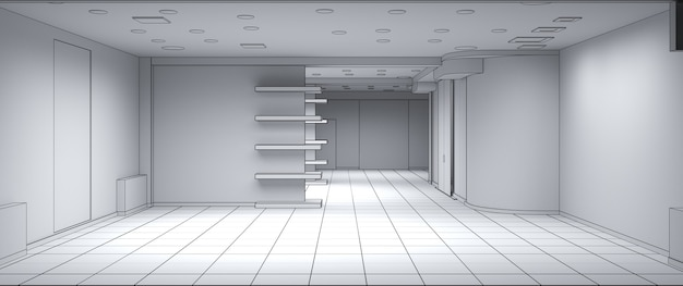 空のパビリオン内部視覚化3dイラスト