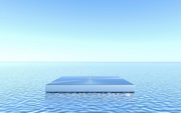 물 배경에 빈 받침대입니다. 추상 최소한의 기하학적. 3d 렌더링