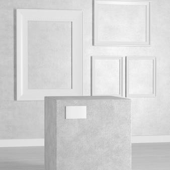 白い背景の上のアートギャラリーまたは美術館の空の台座、ステージ、表彰台または列。 3dレンダリング
