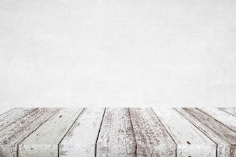Empty perspective vintage white wood and white wall background