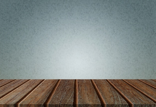 Empty perspective wood plank table top with blue background for montage of your product