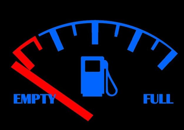 Empty petrol gauge gas ad full tank fuel