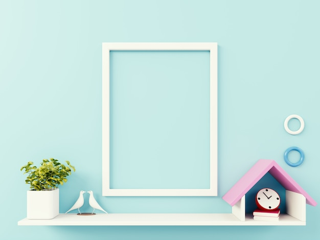 Empty photo frame on blue wall