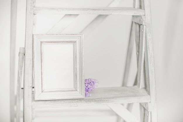 Empty photo frame on old white ladder isolated on white background