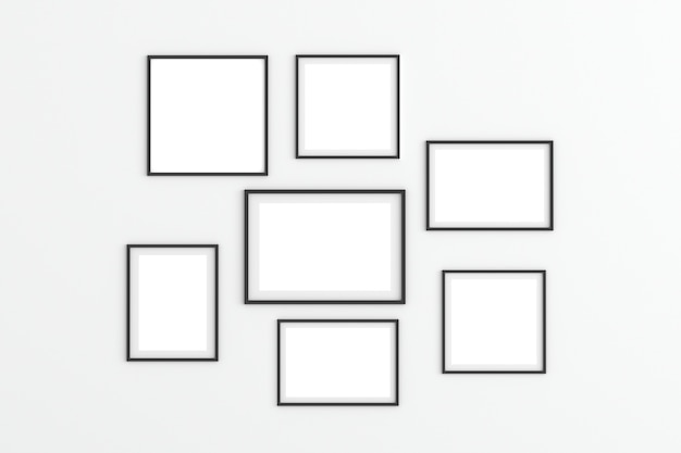 Empty photo frames on white background for mockup