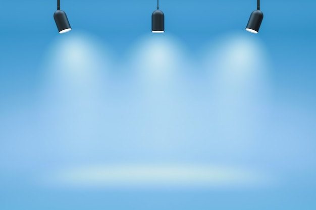 Пустые фоны фотостудии и центр внимания на фоне голубой комнаты с показом сцены. градиент синего или пустого помещения. 3d-рендеринг.
