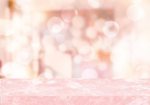 空のピンクの大理石のテーブルルームのボケ味の背景製品の背景