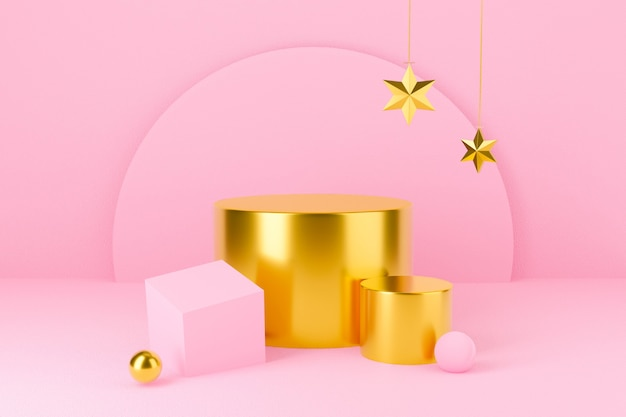Empty pink podium background with star. christmas.
