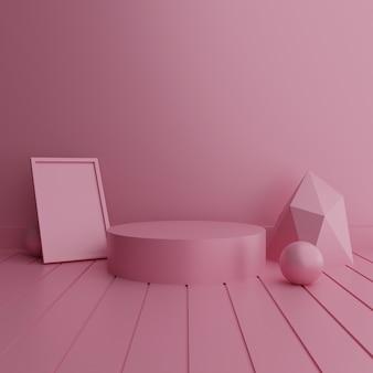 Пустой розовый подиум с подарочной коробкой и воздушным шаром в форме любви для презентации продукта