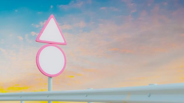 Пустой розовый дорожный знак макет с красочным небом 3d визуализации