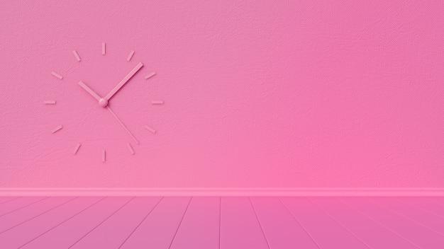 六角形の壁と壁時計と空のピンクの部屋