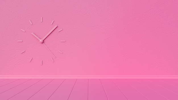 Empty pink room with hexagonal wall and wall watch