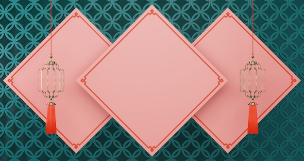 Empty pink squares background for present product with golden lamps on green circle background, luxury minimalist
