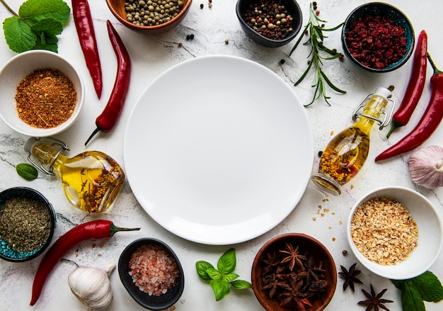 空の皿とスパイスのフレーム