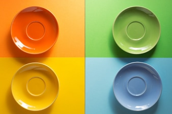Empty plate at  colorful background