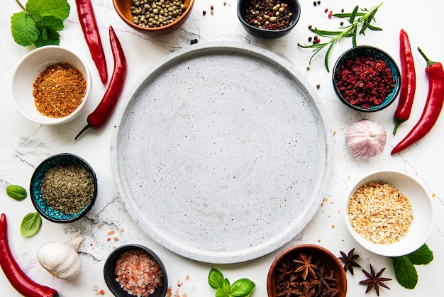 Empty plate and frame of spices