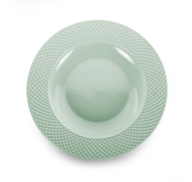 흰색 배경에 고립 된 빈 접시