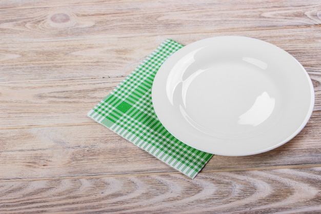 Empty plate and towel
