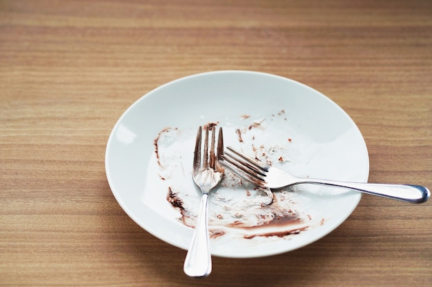 Empty plate with fork on table