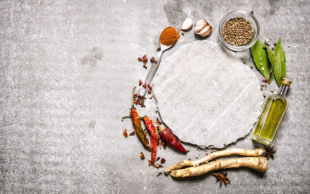 Empty plate with spicy spices and herbs around. on the stone table. free space for text . top view