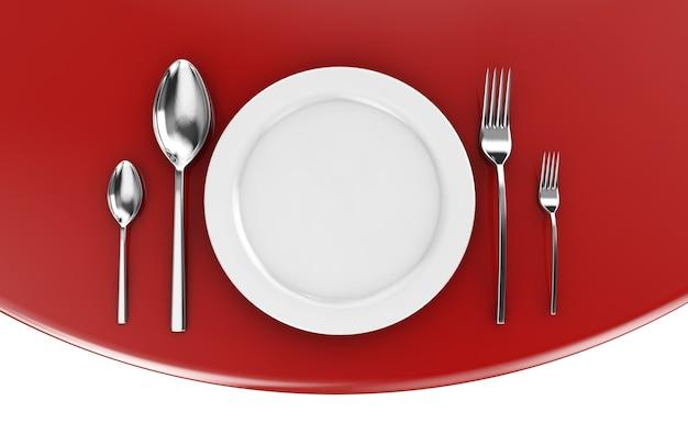 大理石のベースに空の皿、スプーン、フォーク、ナイフ。 3dイラスト