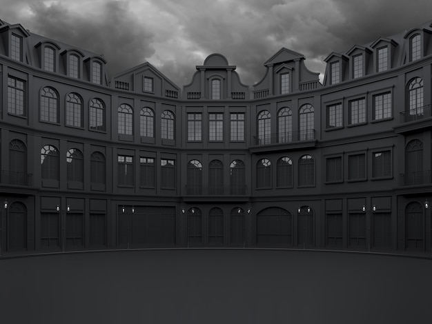 Empty plaza surrounded with black classical style building with rain cloud background 3d render
