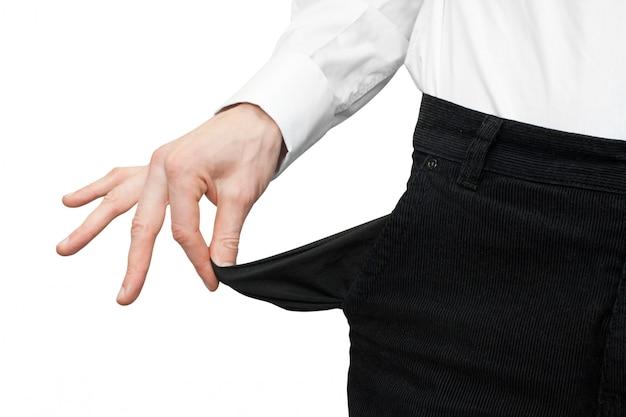 Empty pocket in hand