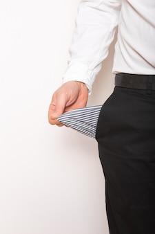 Empty  pocket in hands of man. broke ,bankrupt concept.