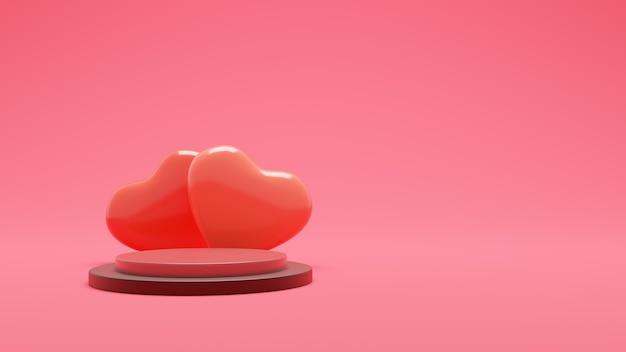 분홍색 종이 바탕에 빈 연단과 골드 하트 premium photo