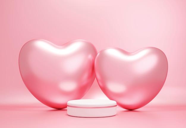 Пустой подиум и сердца из розового золота на фоне розовой бумаги