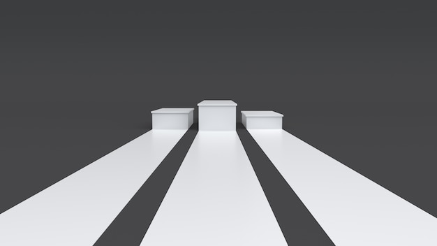 Empty podium on dark background. 3d rendering.