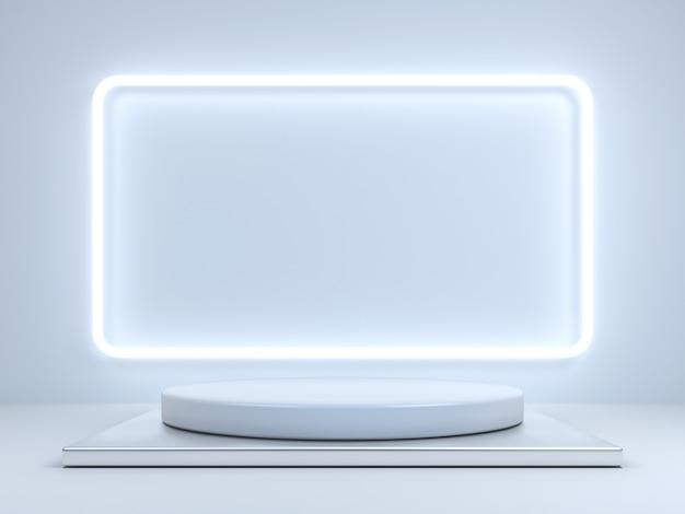 Poduct 디스플레이 및 네온 라이트 프레임 3d 렌더링을위한 빈 연단