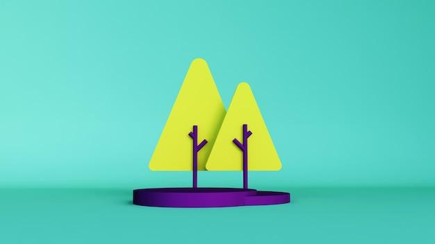 黄色の木スタンドのコンセプトでカラフルな背景に空の表彰台または台座のディスプレイ
