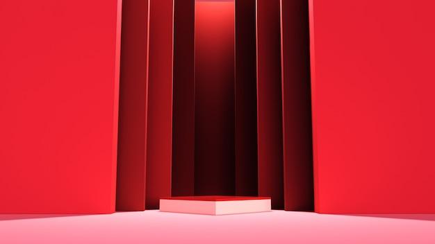 抽象スタンドの概念と赤い背景の上の空の表彰台または台座の表示