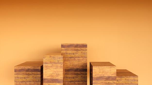 Пустой подиум или пьедестал с концепцией деревянной подставки