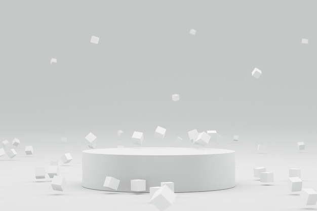 Empty podium or pedestal display on white background with abstract geometric and futuristic concept.