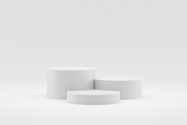 Empty podium or pedestal display on white background with cylinder stand concept.