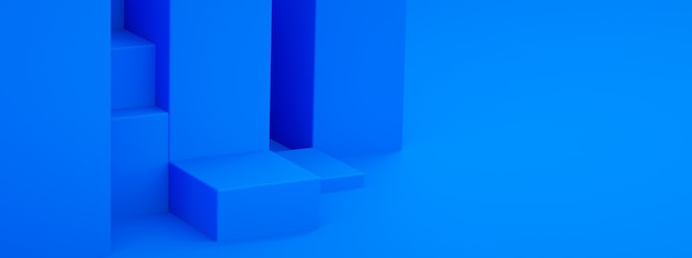 Empty podium for product, blue geometric shapes, 3d rendering, panoramic mockup with space for text