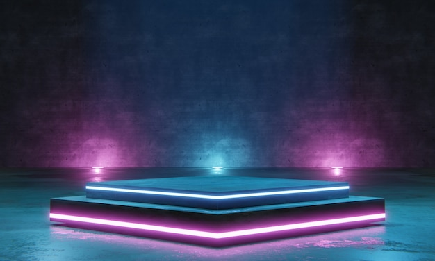 Empty podium for products display with neon light