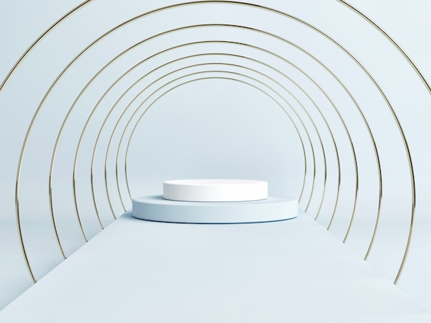 Empty podium scene with a geometric shape, blue background, 3d render, 3d illustration