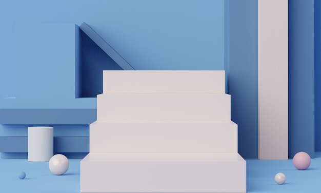 Empty podium scene with geometric shapes for cosmetic and product display.