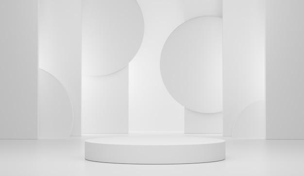 Пустая сцена подиума с геометрическими фигурами для демонстрации косметики и продукции.