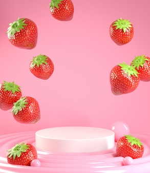 Empty podium for show product with strawberry falling on cream. 3d render