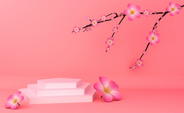 Empty podium showcase for cosmetic product presentation. 3d rendering