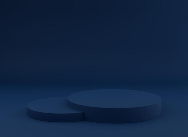 제품 표시를위한 빈 연단 스튜디오 파란색 배경입니다.