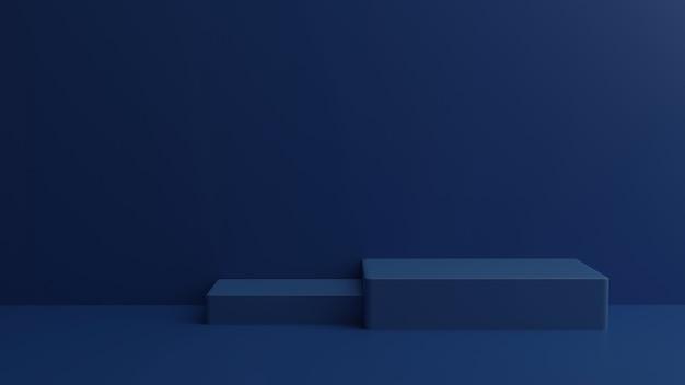 Empty podium studio blue background for product display.