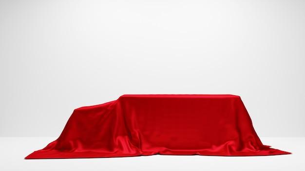 Пустой подиум с красной тканью 3d визуализации